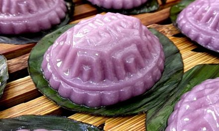 Purple Sweet Potato Angku Kuih (Savoury Mung Bean Paste)