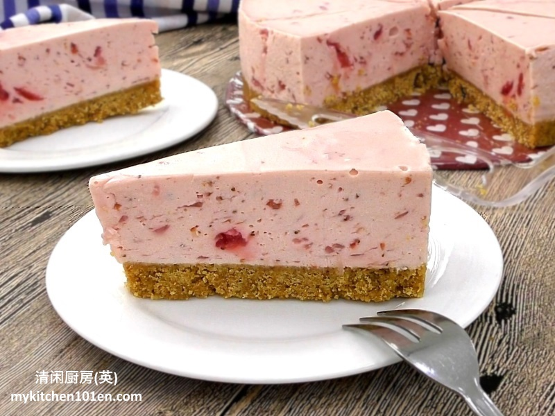 Chilled Strawberry Cheesecake with homemade strawberry filling